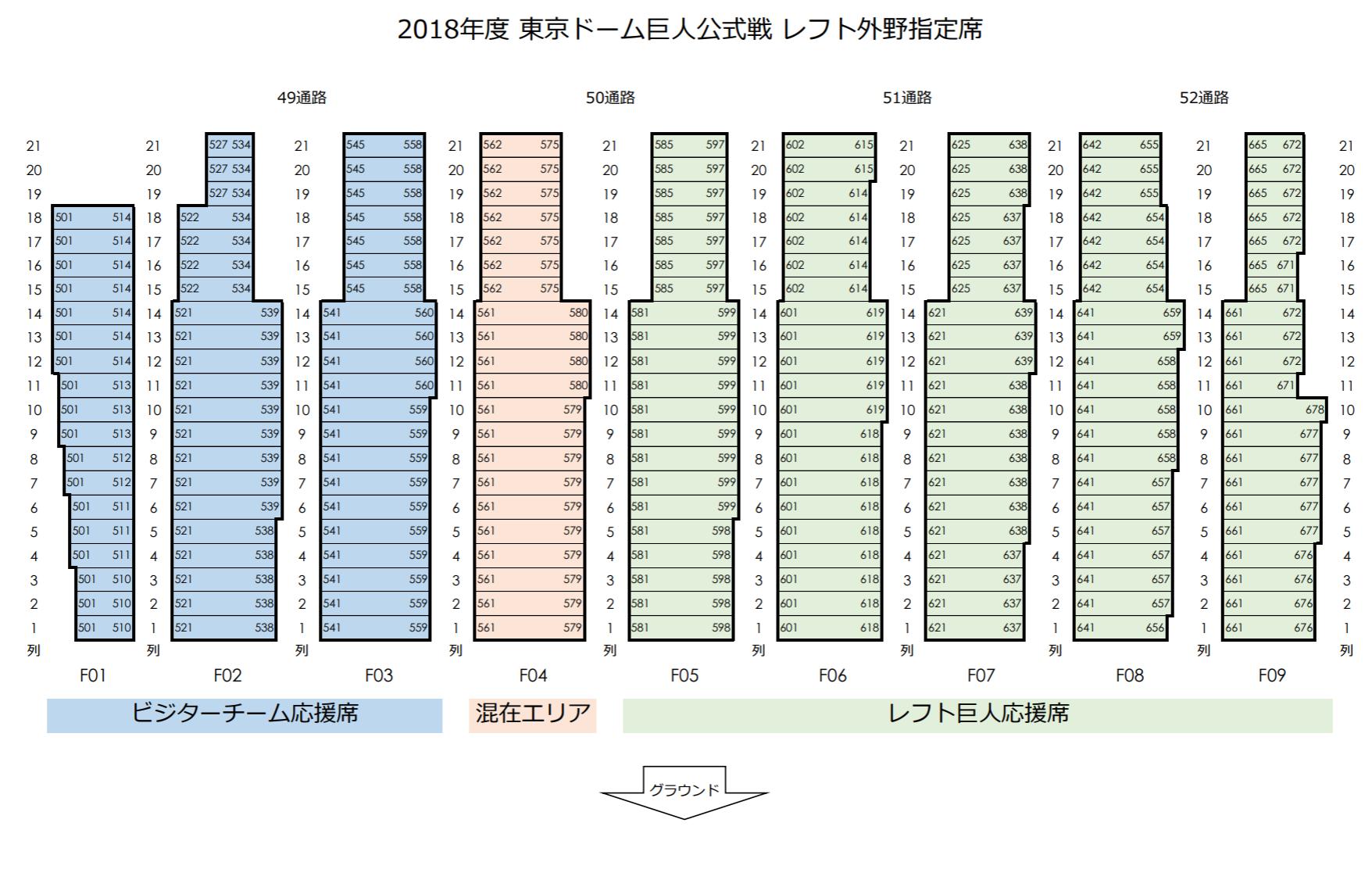 東京ドームレフト外野指定席座席表